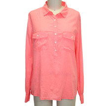 J.Crew Orange Pullover Button-up Neon Size 6 100% Cotton