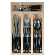 Laguiole 24 piece cutlery set Black by Jean Dubost - a classy stylish look of quality