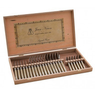 Laguiole 24 Piece Cutlery Set in Wooden Gift Box by Jean Neron - Light Horn