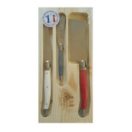 Simplicite Laguiole 3 piece Cheese Set with cleaver red, grey, white - Giverny by Jean Dubost