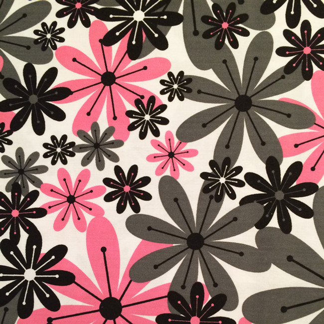 Bright Pink and Gray Flower Microwave Corn Bag Heating Pad