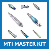 MTI Dental Master Kit GRP-DemoMaster. Master Swivel Lynx Lube-Free Motor GRP-50135-03, Lube-Free Master TorqueMaster TM5 GRP-50136-04, Master Prophy AirLite (Any Color) 50154, 1:1 Universal Blue Nose Cone LX11SNCL, 4:1 Reduction Green Nose Cone LX12SNCL, 1:1 Contra Sheath LX11, Ball-Bearing Spring Latch Head LX102-BB, Quick-Disconnect Coupler (4-Hole) 50134, Carrying Case with Foam Inserts.