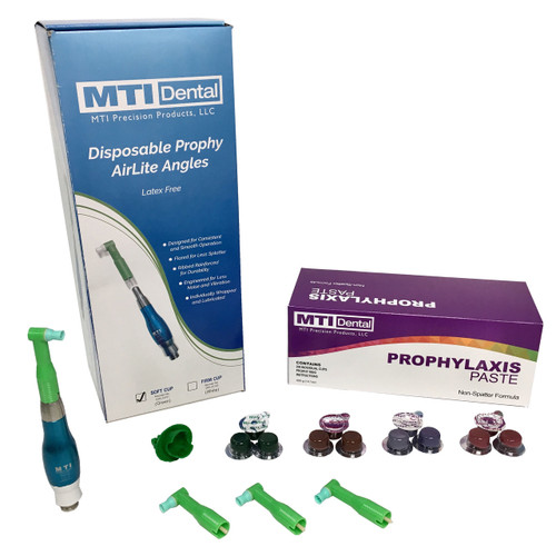 Dual Pack of Quick-Disconnect Master Prophy AirLite Polisher + 1200CT. Prophylaxis Paste + 1200CT. Disposable Prophy Angles (Combo Pack). Color of Prophy Polishing Handpiece Will Differ Based on the Prophy Handpiece Color you Select.