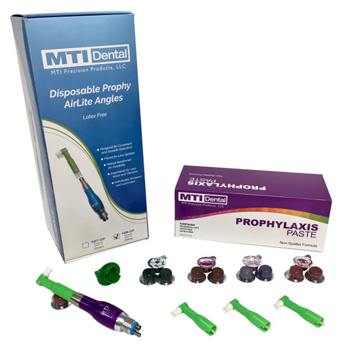 Triple-Pack of 4-Hole Prophy Polishers + 1800CT. Prophylaxis Paste + 1800CT. Disposable Prophy Angles (Combo Pack). Color of Prophy Polishing Handpiece Will Differ Based on the Prophy Handpiece Color you Select.