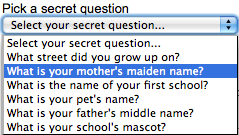 secret question security