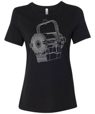 Blueprint line art of a theatre stage lamp spotlight womens graphic tee for stage techs and lighting designers.