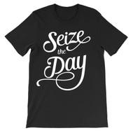 Seize the Day - script typography unisex newsies t-shirt