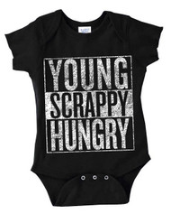 Young Scrappy and Hungry Hamilton Infant Baby Onesie Bodysuit