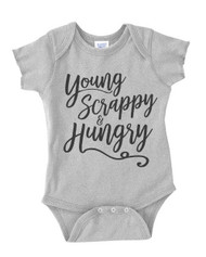 Young Scrappy & Hungry Script Typography - Hamilton -  Infant Baby Bodysuit Onesie