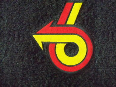 Front floor mats in black with Red and yellow Power 6 logo for Buick Grand National