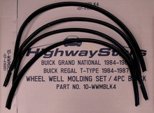 Set of 4 Powdercoated Black Wheel well moldings for Buick Grand National replacement for GM #25519950 25519951 20498649 20498650