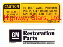GM Licensed Fan Caution Sticker correct copy available through Highway Stars