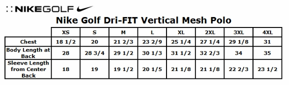 Nike Dri Fit Polo Size Chart Fitness And Workout
