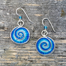 """Ocean waves and waterfalls emit feel-good negative ions. These earrings may not emit the actual ions, but they will promote feelings of hope and peace. They are handmade from sterling silver and resins, and carefully hand painted. They measure 1"""" tall and 3/4"""" wide, not including the earring wires, and are light and fun to wear."""
