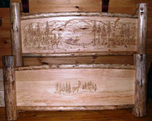 Carved Wilderness Queen Size Bed