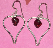 Garnet Heart Large Pendant Earrings
