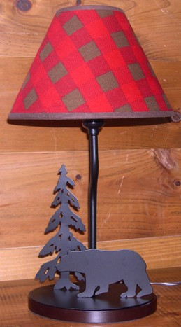 Home · cabin decor · rustic lighting bear lamp with northwoods lampshade image 1