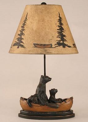 Bears In Canoe Lamp Adirondack Country Store