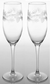 Icy Pine Champagne Flutes