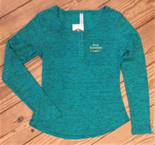 Ladies Green Henley Shirt