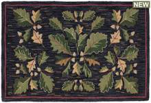 Acorn and Leaves Hooked Rug