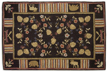 Night Moose Hooked Rug