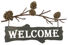 Metal Pinecone Welcome Sign