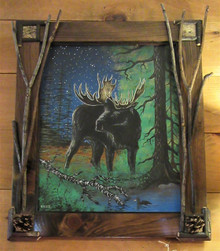 Handcrafted Twig Framed Painting Moose
