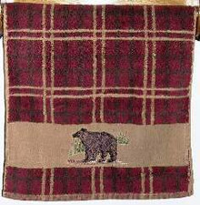Plaid Bear Hand Towel