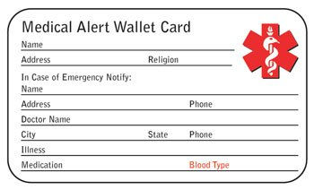 medical alert wallet card template - stainless steel medical bangle bracelet