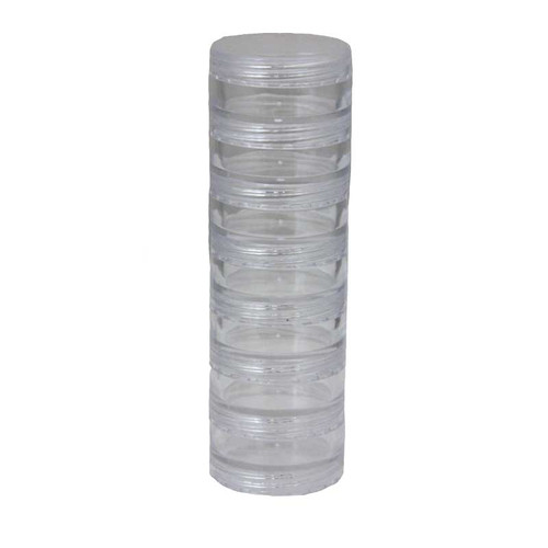 7 Plastic Stackacle 1.25 Inch Round Containers