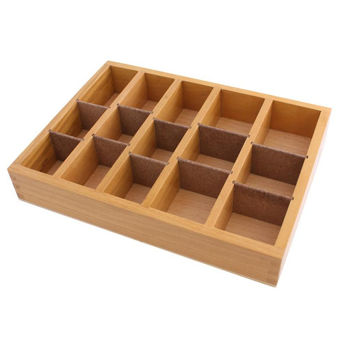 Box with removable dividers for organizing and storing burs