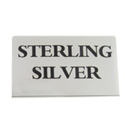 Large sterling silver metal signs for labeling jewelry