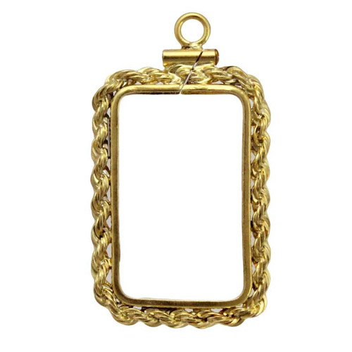 Coin bezel credit suisse 1 oz yellow gold filled rope edge coin yellow gold filled coin frame pendant for one ounce suisse aloadofball Choice Image