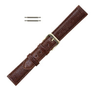 16MM Watch Band Brown Leather Genuine Lizard