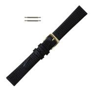 19MM Leather Watch Band Black Lizard Grain