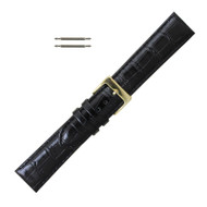 Black Leather Watch Band 18MM Alligator Grain