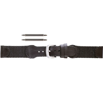 19MM swiss army style black leather long watch band