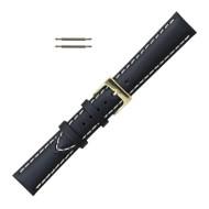 Saddle Stitched Watch Band Black Leather 20MM
