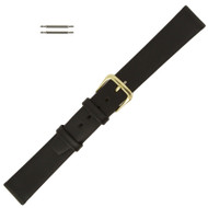 Leather Watch Band Black Smooth Calf 16MM