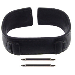 18mm black leather watch band in retro cuff style