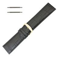 Leather Watch Band 24 MM Black Leather Alligator Grain Extra Wide Band