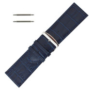 Leather Watch Band 28 MM Blue Leather Alligator Grain Extra Wide Band