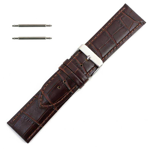 Alligator Grain Reddish Brown Leather Watch Band 28 mm Wide with Silver Tone Buckle