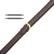 12MM double extra long brown lizard grain leather watch band