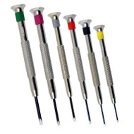 Deluxe European fixed-blade miniature screwdrivers with color-coded bands