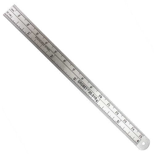 Stainless steel flexible ruler with deeply etched millimeters and inches