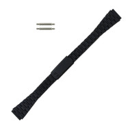 Ladies Tapered Watch Band 14 MM Black Tone Stainless Steel Classic Slide Band