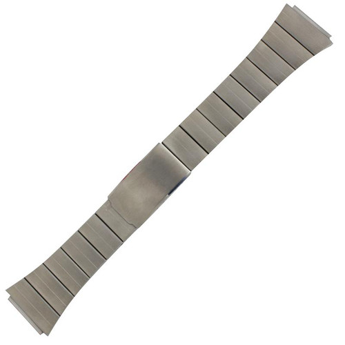 Men's classic-style 19mm silver tone watch band in stainless steel