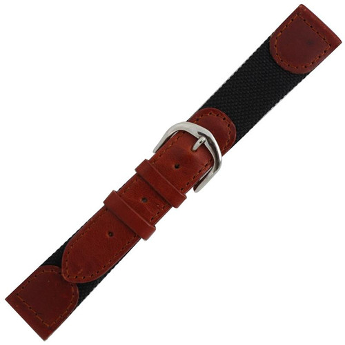 Men's 19mm honey brown Swiss Army style leather watch band